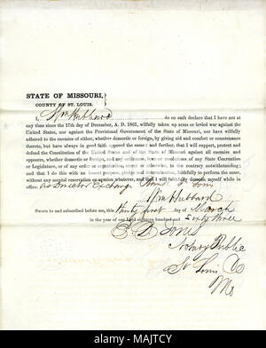 Swears oath of allegiance to the Government of the United States and the State of Missouri. Title: Loyalty Oath of William Hubbard, St. Louis.  . 6 April 1863. Hubbard, William - Stock Photo