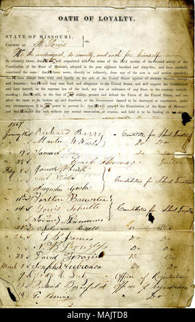 Swears oath of allegiance to the Government of the United States and the State of Missouri. Title: Loyalty Oath of various candidates and officers, St. Louis.  . 5 April 1869. - Stock Photo