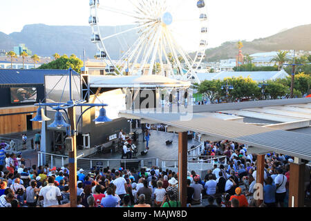 Judith Sephuma - South African jazz and Afro-pop singer - live on the V&A waterfront, on a summer's evening, in Cape Town, South Africa - Stock Photo