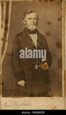 Full-length portrait of a man in civilian clothes. 'Gen. Pillow' (written below image). 'Gen Pillow Gideon C. Pillow, Brigadier General Belmont Ft Donelson Stone River' (written on reverse side of image). Title: Gideon Johnson Pillow, General (Confederate).  . circa 1880. E. and H.T. Anthony - Stock Photo