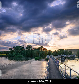 Hambleden Lock on the River Thames on a summer evening - Stock Photo