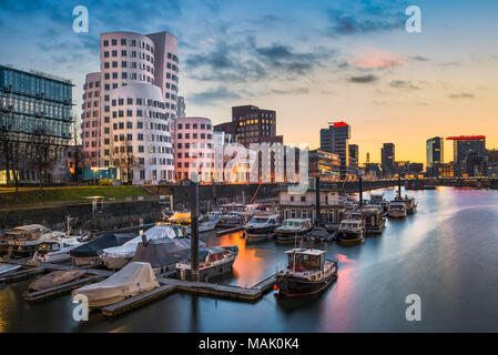 Medienhafen harbour skyline in Dusseldorf, Germany - Stock Photo