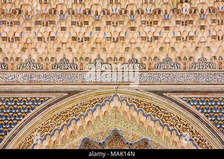 Morocco, Fes, Fes el Bali, Medina, Kairaouine Mosque, Mosque of al-Qarawiyyin, decoration - Stock Photo