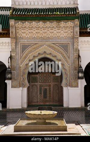 Morocco, Fes, Fes el Bali, Medina, Kairaouine Mosque, Mosque of al-Qarawiyyin, courtyard - Stock Photo