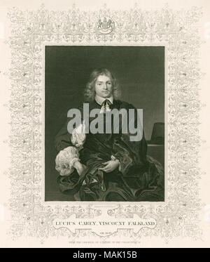 Antique c1840 steel engraving, Lucius Cary. Lucius Cary, 2nd Viscount Falkland (1610-1643) was an English author and politician who sat in the House of Commons from 1640 to 1642. He fought on the Royalist side in the English Civil War and was killed in action at the First Battle of Newbury. SOURCE: ORIGINAL ENGRAVING - Stock Photo