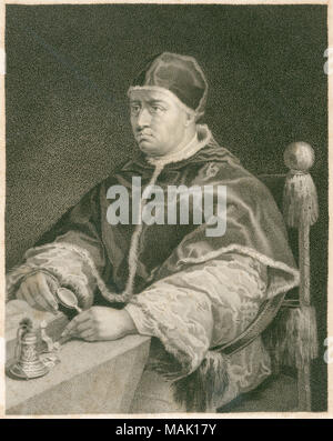 Antique c1820 engraving, Pope Leo X. Pope Leo X (1475-1521), born Giovanni di Lorenzo de' Medici, was Pope from 9 March 1513 to his death in 1521. SOURCE: ORIGINAL ENGRAVING portrait; steel, engraving; engraved; antique; old; art; print; illustration; historic, historical, archival, archive, b&w, black and white, 1860s, 1870s, 1800s, nineteenth century; 19th century - Stock Photo