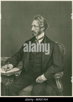Antique c1885 steel engraving, Edward Bulwer-Lytton. Edward George Earle Lytton Bulwer-Lytton, 1st Baron Lytton (1803-1873) was an English novelist, poet, playwright, and politician. SOURCE: ORIGINAL ENGRAVING - Stock Photo