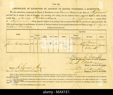 Certificate of exemption from military duty, signed D. Coleman, N ...