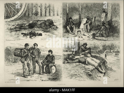 A series of four prints. The upper left image is of an African American boy or young man asleep next to a turned over kettle on a fire. 'A watched pot never boils' (written below image). The upper right image shows a group of five men cooking around a campfire. 'A hasty supper' (written below image). The lower left image is of three drummer boys. Two are standing with their drums slung over their backs and one is sitting on his drum. 'Drummer boys' (written below image). The lower right image is of two soldiers sleeping, one leaning against a tree and the other lying on the ground barefoot. 'P - Stock Photo