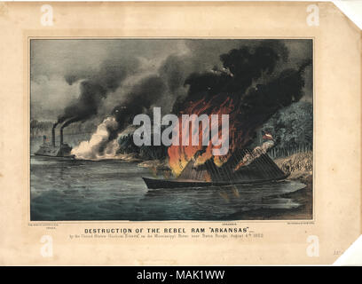 Print of a Confederate ironclad vessel on fire near shoreline in the foreground with a Union ironclad gunboat in the background. 'DESTRUCTION OF THE REBEL RAM 'ARKANSAS'   ' (printed below image). Title: 'Destruction of the Rebel Ram 'Arkansas.''  . between 1861 and 1865. Currier and Ives, New York - Stock Photo