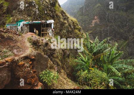 Donkey in the rundown barn nesteled into the mountainside. Rocky terrain on Santo Antao Cape Verde - Stock Photo