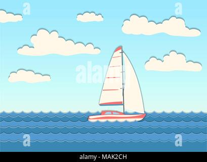 Yacht in the sea. - Stock Photo