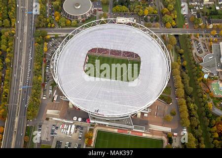 Aerial view, BayArena, Bay Arena, Bayer Leverkusen vs. FSC Mainz 2: 2, football stadium, Bundesliga, fan blocks, Leverkusen, Rhineland, North Rhine-We - Stock Photo