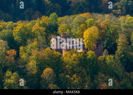 Castle Montclair, castle tower, at the Saarschleife Mettlach, Taben-Rodt, Saarland, Rhineland-Palatinate, Germany, Europe, aerial view, birds-eyes vie - Stock Photo