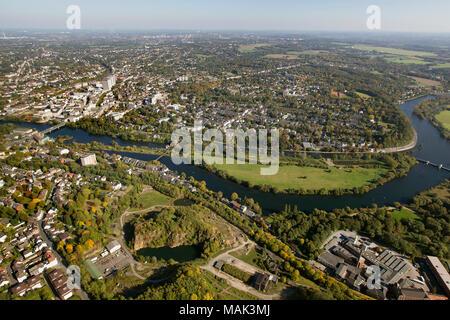 Aerial view, Ruhr promenade between downtown and Saar, Muelheim an der Ruhr, Ruhr area, North Rhine-Westphalia, Germany, Europe, birds-eyes view, aeri