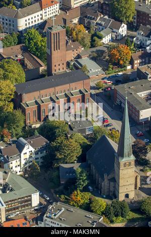 Aerial view, old town Muelheim, half-timbered house, Muelheim an der Ruhr, Ruhr area, North Rhine-Westphalia, Germany, Europe, birds-eyes view, aerial