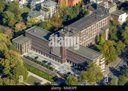 Aerial view, city administration, town hall Oberhausen, Oberhausen, Ruhr area, North Rhine-Westphalia, Germany, Europe, birds-eyes view, aerial view,  - Stock Photo