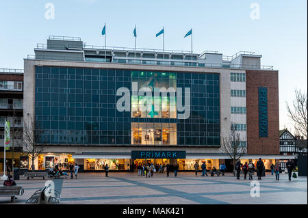 Primark clothing store at dusk in Broadgate, Coventry, West Midlands, UK with copy space. - Stock Photo