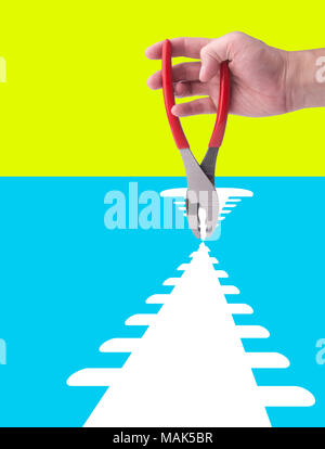 Pliers or Pliers in hand on the background - Stock Photo