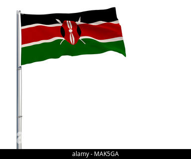 Isolate flag of Kenya on a flagpole fluttering in the wind on a white background, 3d rendering - Stock Photo