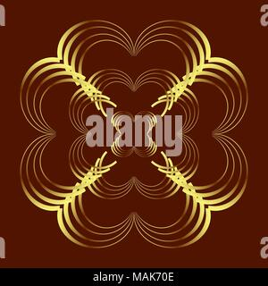 Abstract curve pattern in gold colored on dark brown background; heart, flower shapes. Vector illustration. - Stock Photo