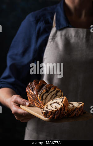 Woman holding homemade poppy seed cake. Still life in dark colors - Stock Photo