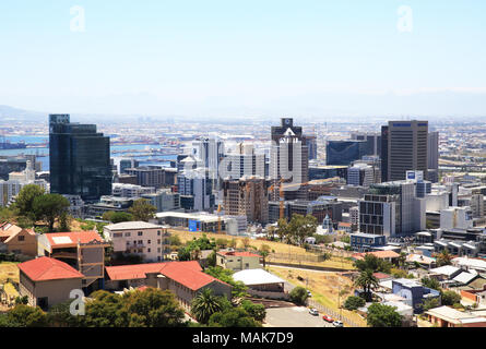 View over the city centre of Cape Town, from Signal Hill, in South Africa - Stock Photo
