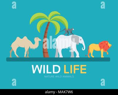 Wild life in flat design background concept. lives of animals in the wild nature. Icons for your product or illustration, web and mobile applications - Stock Photo