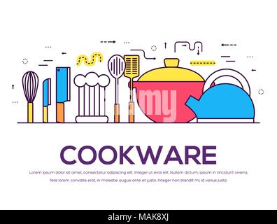 cookware kitchen table for cooking in house vector outline illustration. On flat in thin lines style design background concept. - Stock Photo