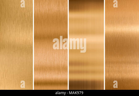 various brushed bronze metal textures set - Stock Photo