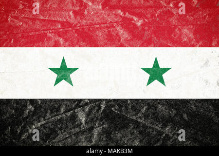 Realistic illustration of Syria flag on torned, wrinkled, dirty, grunge paper poster. 3D rendering. - Stock Photo