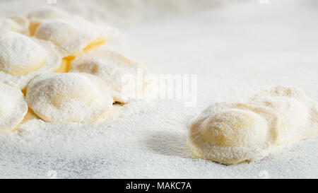 traditional italian fresh pasta in flour - Stock Photo
