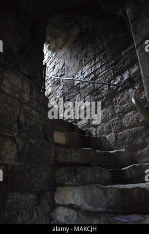 Staircase in Caernarfon Castle - Stock Photo