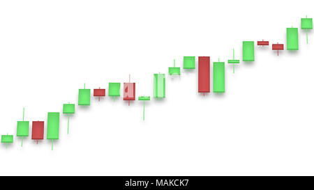 Market chart with color bars on white background. Red and green color stock market bars. 3D rendering - Stock Photo