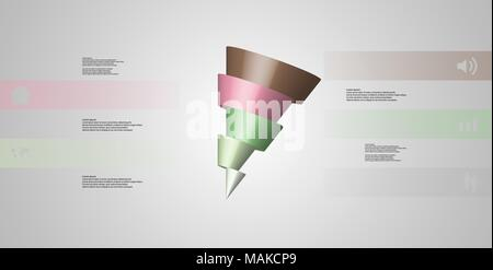 3D illustration infographic template with motif of horizontally sliced cone to five color parts which are shifted and askew arranged. Simple sign and  - Stock Photo