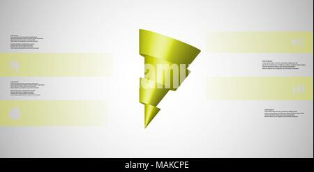 3D illustration infographic template with motif of horizontally sliced cone to four green parts which are shifted and askew arranged. Simple sign and  - Stock Photo