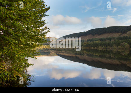 Morning valley reflections at Pontsticill reservoir, Brecon Beacons, South Wales Stock Photo