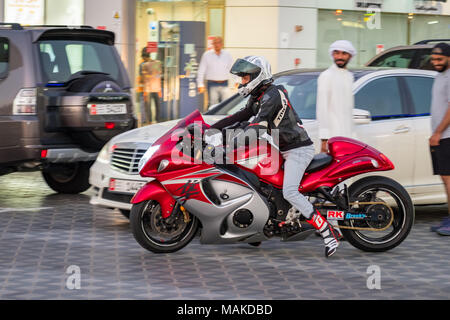 Bike rider riding Suzuki Hayabusa heavy bike, Dubai, UAE - Stock Photo