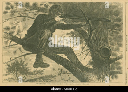 Print of a solider sitting on a tree branch and peering through the scope on his rifle. A canteen hangs on a small branch nearby. 'THE ARMY OF THE POTOMAC - A SHARP-SHOOTER ON PICKET DUTY. - [FROM A PAINTING BY W. HOMER, ESQ.]' (printed below image). Clipping from Harper's Weekly, Nov. 15, 1862, page 724. Title: 'The Army of the Potomac - A Sharp Shooter on Picket Duty.'  . 15 November 1862. Winslow Homer - Stock Photo