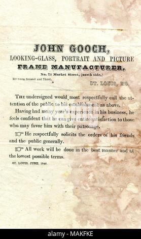 Circular advertising the work of John Gooch, looking glass, portrait
