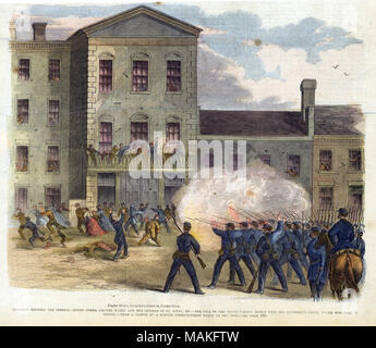 Print of a formation of troops firing into a crowd in front of a building with civilians on the balcony. 'COLLISION BETWEEN TROOPS UNDER COLONEL M'NEIL AND THE CITIZENS OF ST. LOUIS, MO. - THE FIRE OF THE TROOPS TAKING EFFECT UPON THE RECORDER'S COURT, WHICH WAS THEN IN / SESSION. - FROM A SKETCH BY A SPECIAL CORRESPONDENT TAKEN ON THE SPOT. - SEE PAGE 103.' (printed below image). Newspaper clipping from Frank Leslie's Illustrated Newspaper, June 29, 1861 (cover page). Title: 'Collision Between the Federal Troops Under Colonel McNeil and the Citizens of St. Louis, MO. - The Fire on the Troops  - Stock Photo