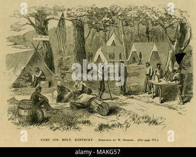 Print of soldiers in a camp with tents and a Union flag. A sign that reads 'CAMP JOE HOLT' is on a tree next to the flag. 'CAMP JOE HOLT, KENTUCKY. SKETCHED BY W. STENGEL. (See page 151.)' (printed below image). Print taken from the 'Pictorial War Record.' Title: 'Camp Joe Holt, Kentucky.'  . between 1861 and 1865. W. Stengel - Stock Photo