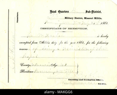 Certificate of exemption of Geo. (George) W. Harlan, signed S. A ...