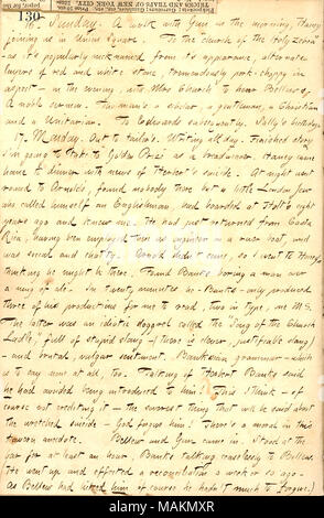 Regarding the suicide of Henry William Herbert.  Transcription: 16. Sunday. A walk with [Robert] Gun in the morning, [Jesse] Haney joining us in Union Square. To the 'church of the Holy Zebra' as it ?s popularly nicknamed from it ?s appearance, alternate layers of red and white stone, tremendously pork-choppy in aspect  ? in the evening, with Mrs Church to hear Bellows. A noble sermon. The man ?s a scholar, a gentleman, a Christian and a Unitarian. To Edwards subsequently. Sally [Edwards]'s birthday. 17. Monday. Out to tailor's. Writing all day. Finished story I ?m going to take to 'Golden Pri - Stock Photo