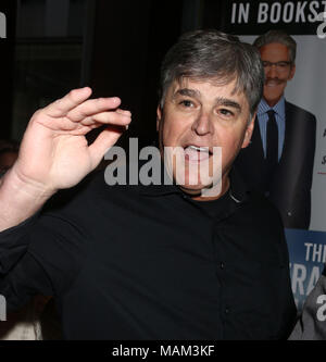 April 2, 2018 - New York City, New York, U.S. - News personality SEAN HANNITY attends the book party  to celebrate the publication of 'The Geraldo Show' held at Del Frisco's Restaurant. (Credit Image: © Nancy Kaszerman via ZUMA Wire) - Stock Photo