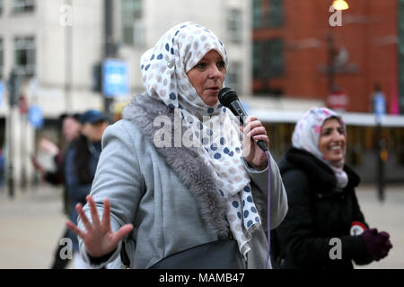 Manchester, UK. 3rd April, 2018. Lauren Booth Journalist and activist speaking at solidarity with the Muslim community vigil been held in response to the 'Punish a Muslim day' and the rise in attacks on Muslims organised by Stand Up To Racism, St Peters Square, Manchester, 3rd April, 2018 (C)Barbara Cook/Alamy Live News - Stock Photo