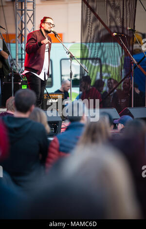 PEZINOK, SLOVAKIA - APR 3, 2018:  Slovak Pop Music group Billy Barman performing on Concert for Jan and Martina in Pezinok, Slovakia on April 3, 2018 Credit: Lubos Paukeje/Alamy Live News - Stock Photo