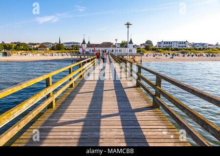 Ahlbeck Pier (Seebrucke Ahlbeck) - pleasure pier located in Ahlbeck, on the island of Usedom. The oldest pier in Germany - Stock Photo