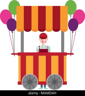 circus pumps air shop with salesman - Stock Photo