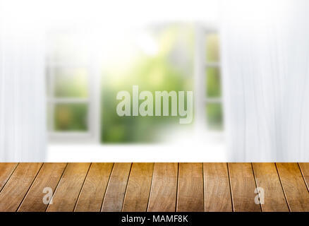 morning bright curtain window and empty table  blurred background can be used for display or montage your products and Mock up - Stock Photo
